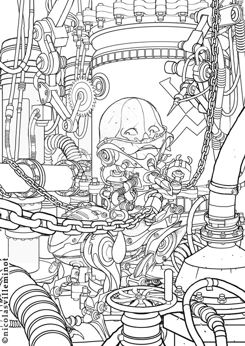 Line Art Robot : Robot line art by electronic on deviantart