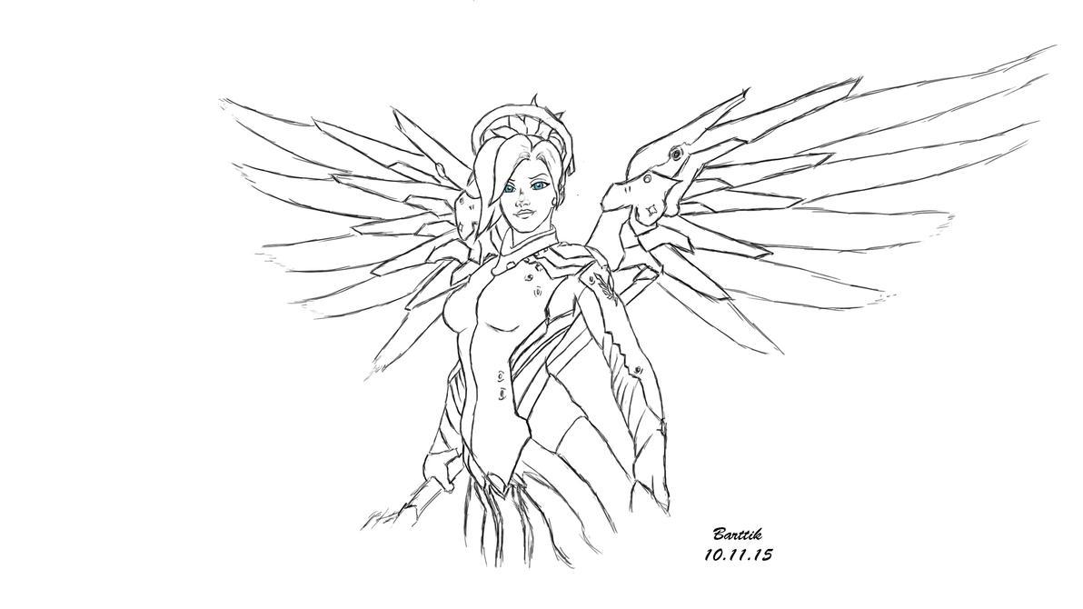 Easy D Line Drawings : Mercy overwatch by barttik on deviantart