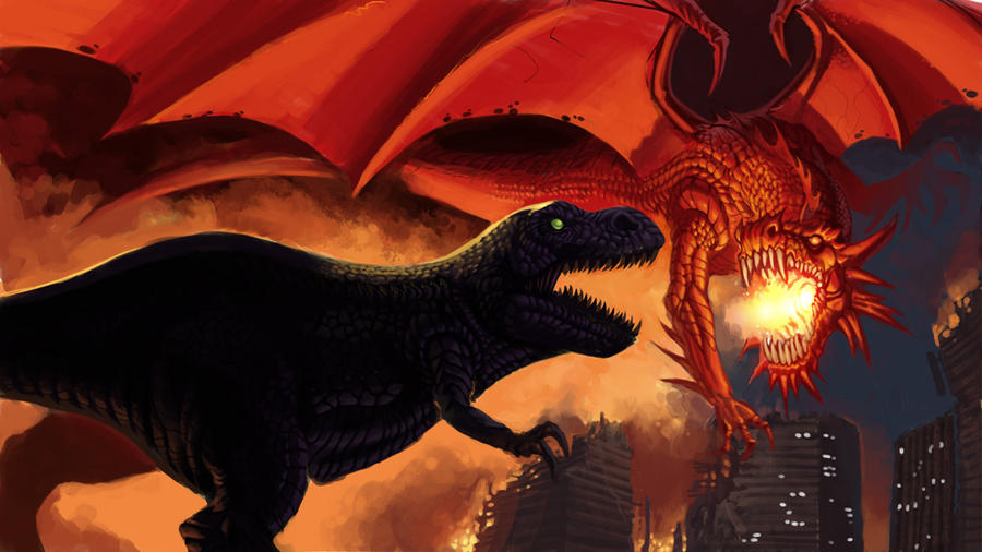 Super Dragon Flying Robot Vs Wild Dinosaur S Poster