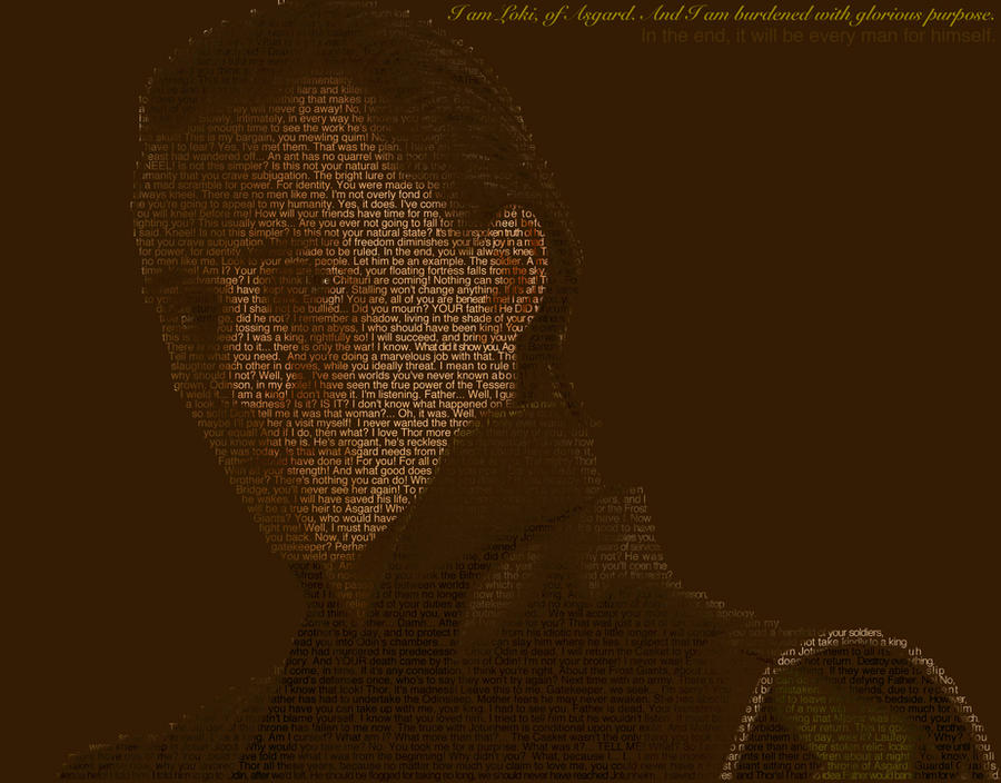 One Line Text Art 9 11 : Loki text art by mattshadoindesign on deviantart