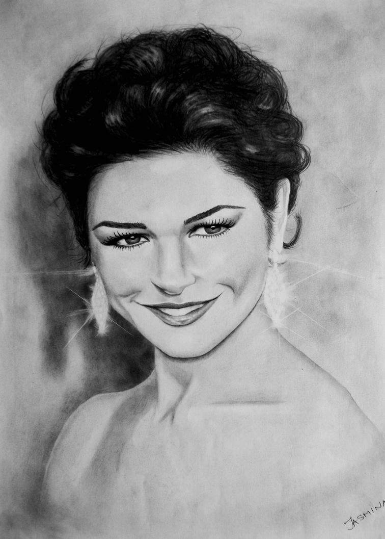 Portrait Drawing  -  Catherine Zeta Jones by JasminaSusak