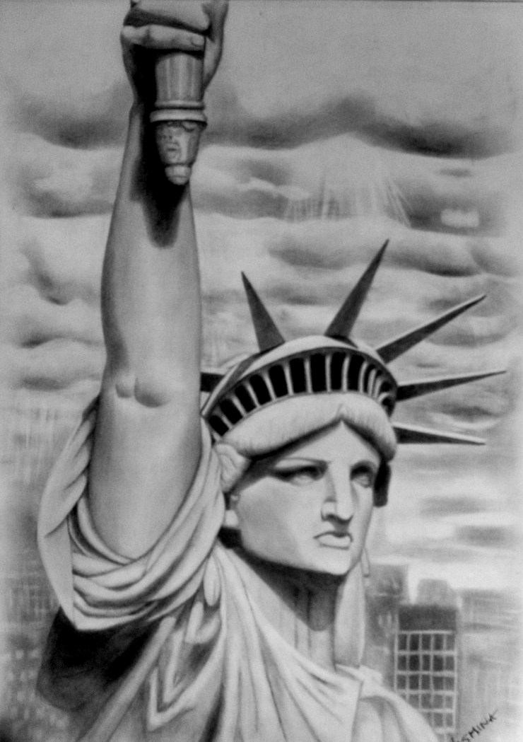 Statue of Liberty-Drawing by JasminaSusak