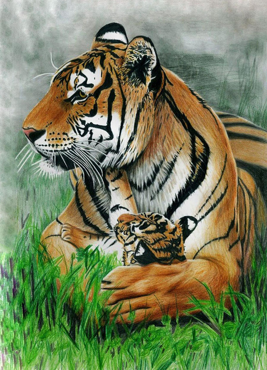Mother's Love - Colored Pencil Drawing
