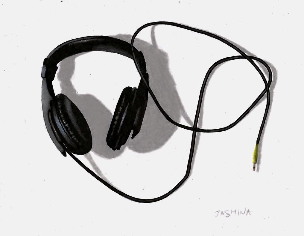 Headphones - traditional drawing by JasminaSusak