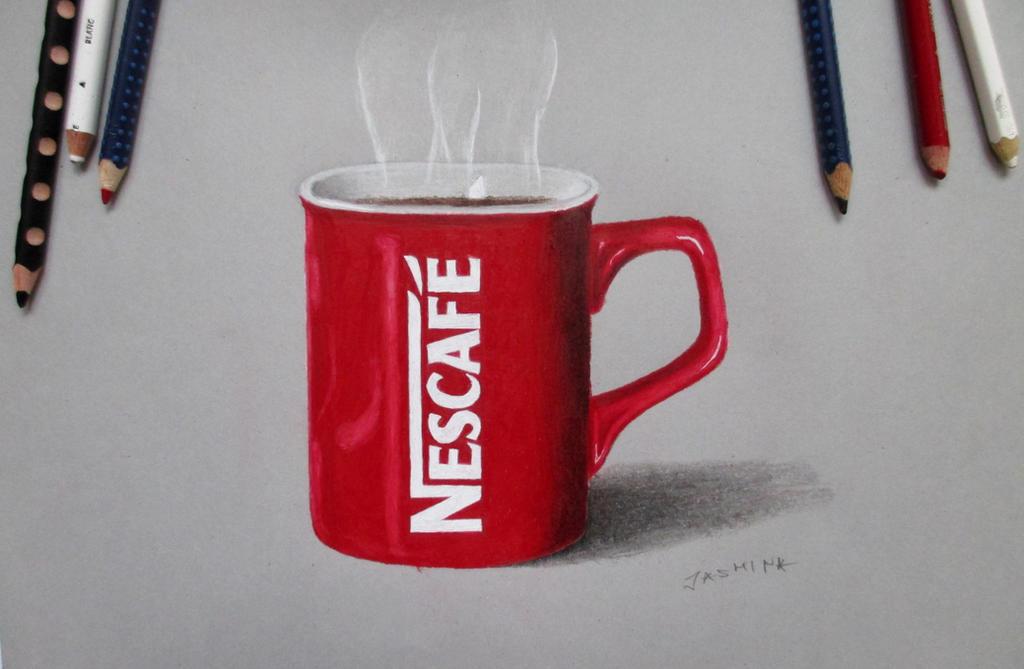 Nescafe colored pencil drawing by JasminaSusak