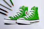 Green sneakers in colored pencil