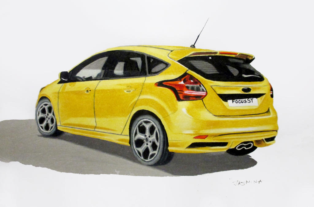 Ford Focus ST Colored pencil drawing by JasminaSusak