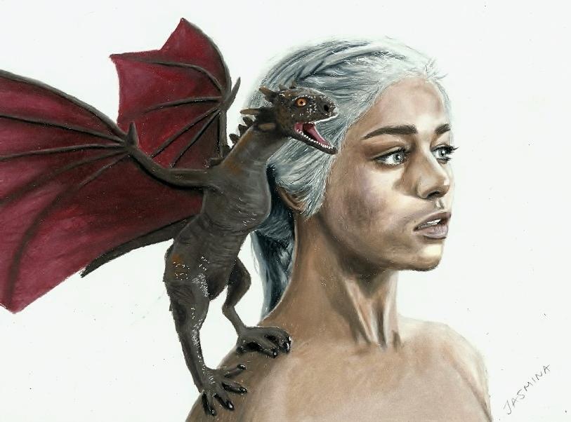 Dragon and Khaleesi colored pencil drawing by JasminaSusak