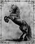 Black Friesian Prancing Horse Graphite Drawing