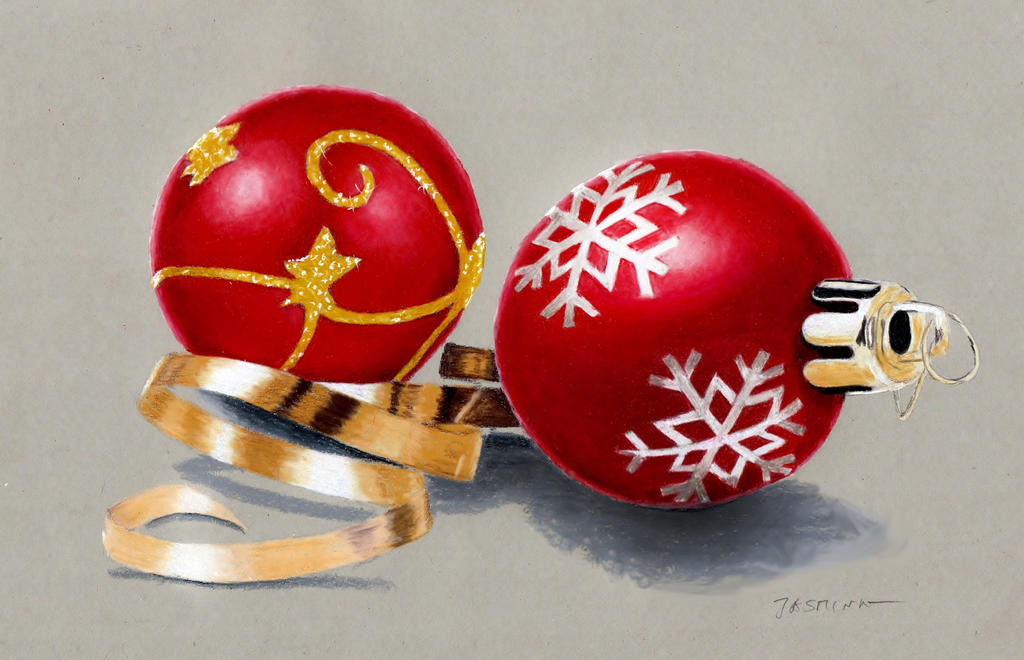 Colorful Christmas Ornaments Drawings.Colored Pencil Drawing Christmas Tree Decorations By