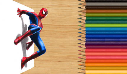3-D Colored Pencil Drawing: The Amazing Spider-Man