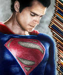 Colored Pencil Drawing of Superman Henry Cavill