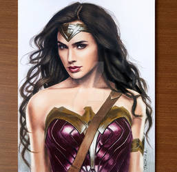 Colored Pencil Drawing of Wonder Woman