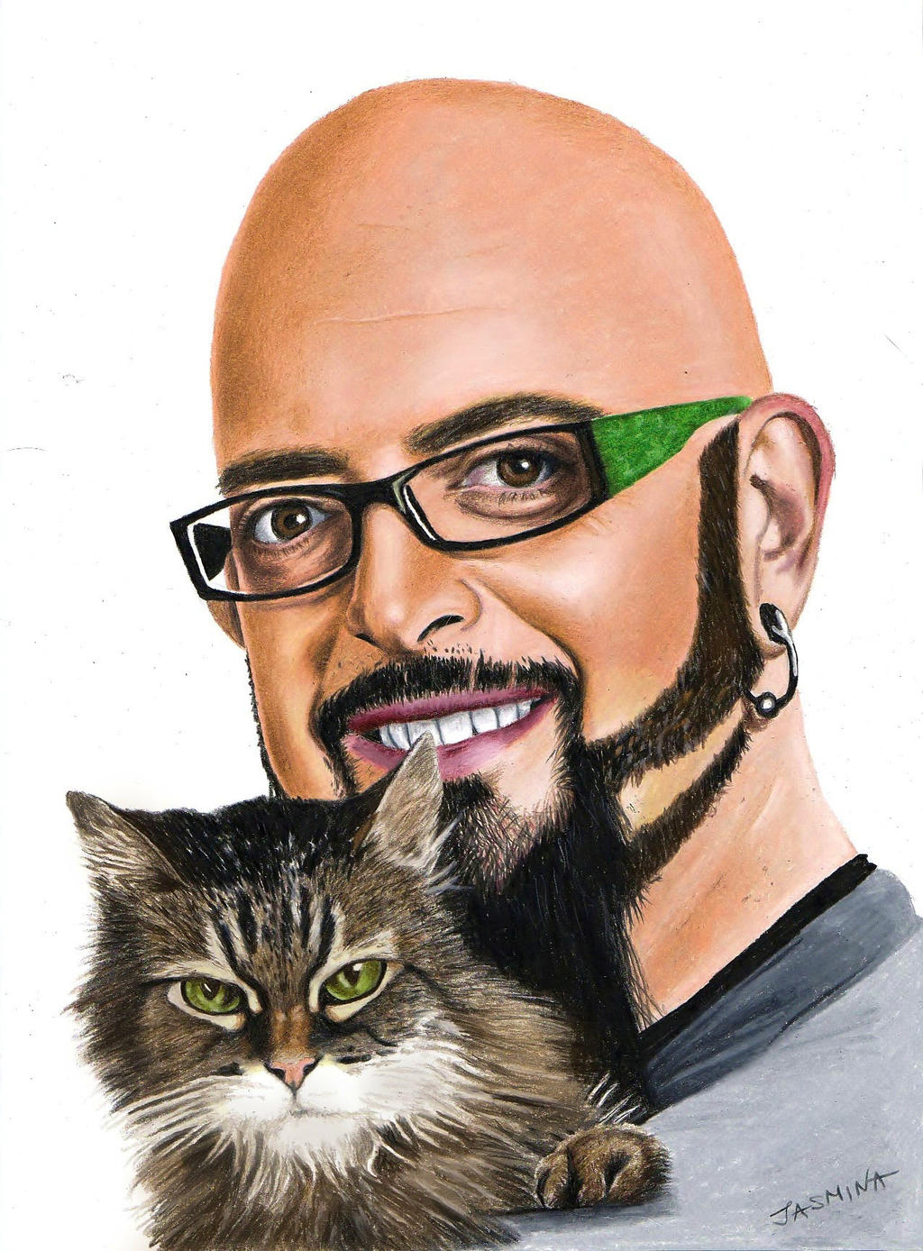 Colored pencil drawing jackson galaxy and his cat by for Jackson galaxy shop