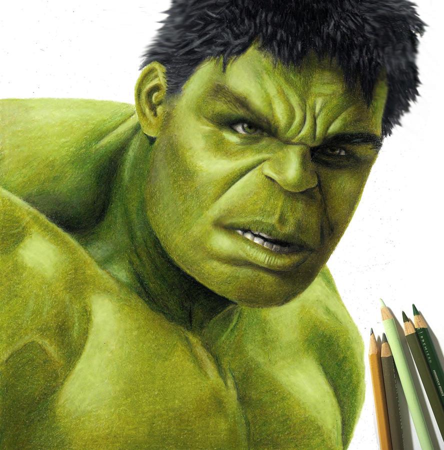 colored pencil drawing of the hulk by jasminasusak on deviantart