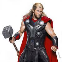 Colored pencil drawing of Chris Hemsworth as Thor by JasminaSusak