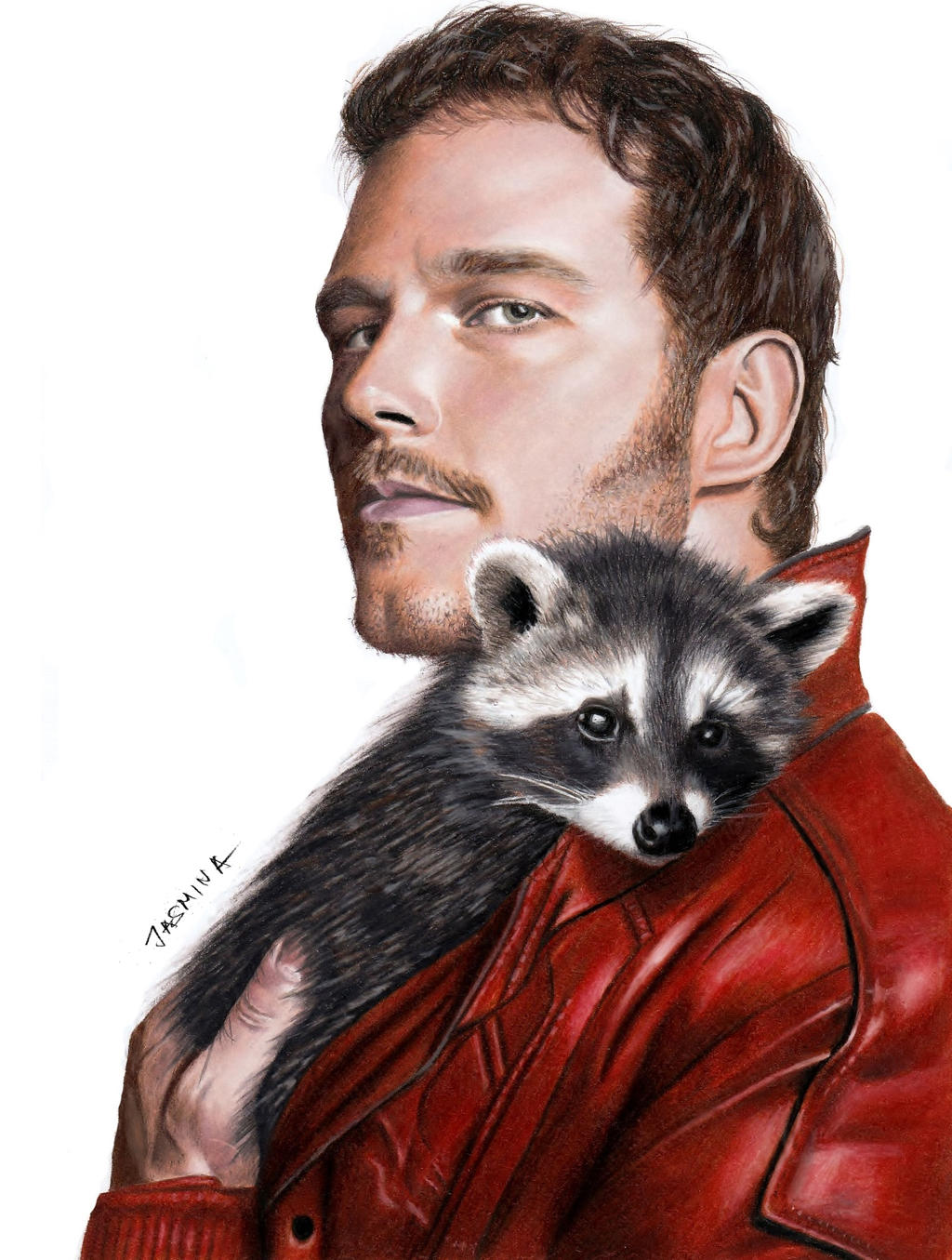 Star Lord And Rocket Raccoon By Timothygreenii On Deviantart: Drawing Of Chris Pratt As Star-Lord With Raccoon By