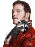 Drawing of Chris Pratt as Star-Lord with raccoon