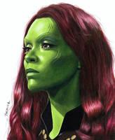 Colored Pencil Drawing of Gamora by JasminaSusak