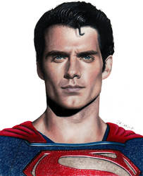 Colored pencil drawing of Henry Cavill as Superman