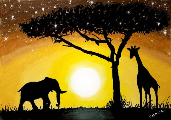 Sunset in Africa - Drawing