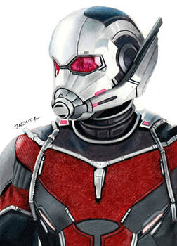 Colored pencil drawing of Ant-Man
