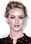 Colored pencil drawing of Jennifer Lawrence