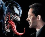 Colored pencil drawing: Venom and Tom Hardy
