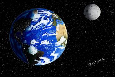 Drawing The Earth and The Moon by JasminaSusak