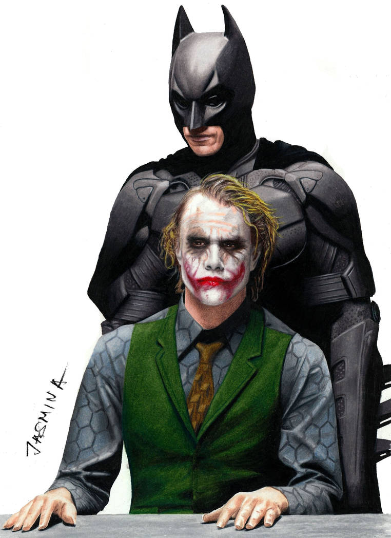 Colored pencil drawing batman and the joker by jasminasusak