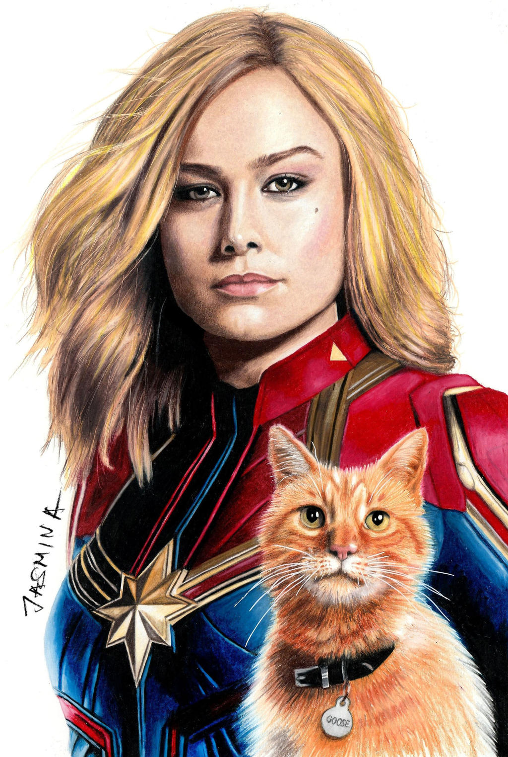 Colored pencil drawing: Captain Marvel and Goose