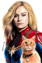 Colored pencil drawing: Captain Marvel and Goose by JasminaSusak