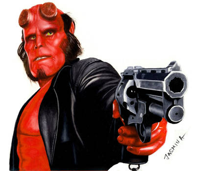 Colored pencil drawing of Hellboy