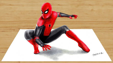3D colored pencil drawing Spider-Man Far From Home