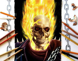Colored Pencil Drawing of Ghost Rider