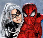 Colored Pencil Drawing of Spider-Man and Felicia