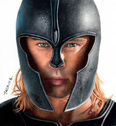 Drawing Brad Pitt as Achilles - Colored Pencils