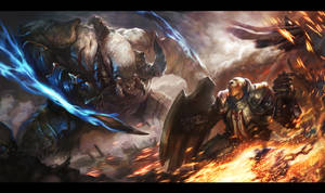 Diablo3 Fan art _ Crusader VS Monster by Hanspark