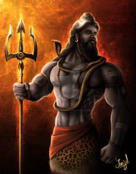 Lord Shiva (The Supreme God) -Digital Painting by SanjulWhiteShadow