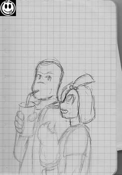 [wip, Sketch] Tm And Momo Having Fun