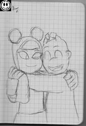 [wip, Sketch] Dopey Hugging Robotgirl