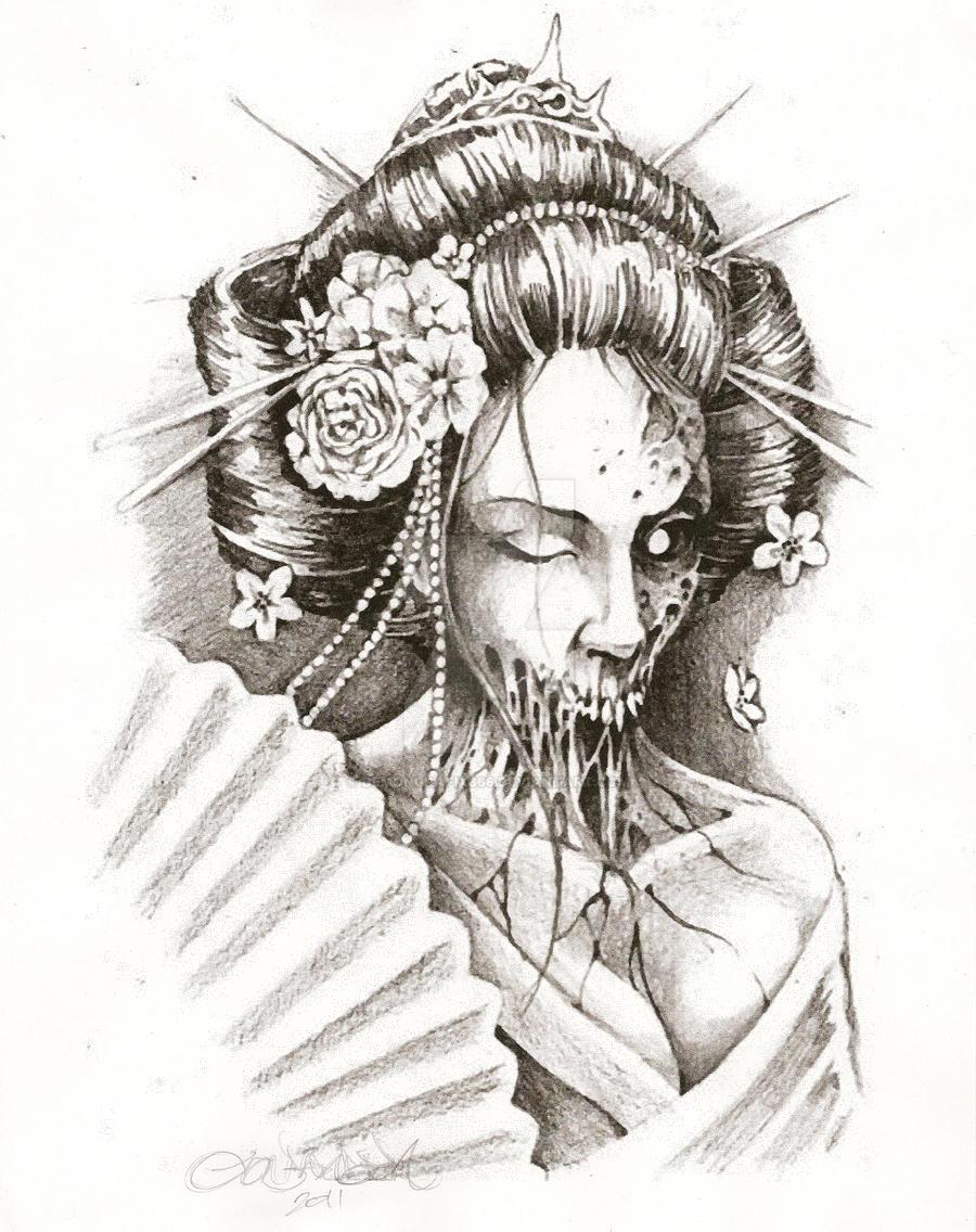 zombie geisha by demongrafix666 on deviantart. Black Bedroom Furniture Sets. Home Design Ideas