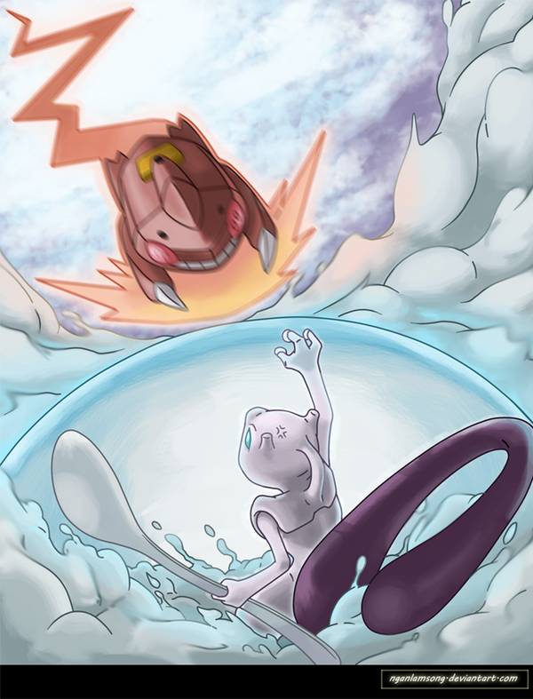 Mewtwo vs Genesect by nganlamsong on DeviantArt