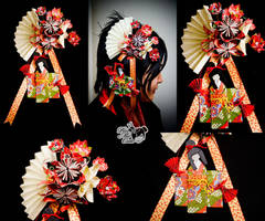 Origami Dancing Geisha Hairpin by xxpo0k13x