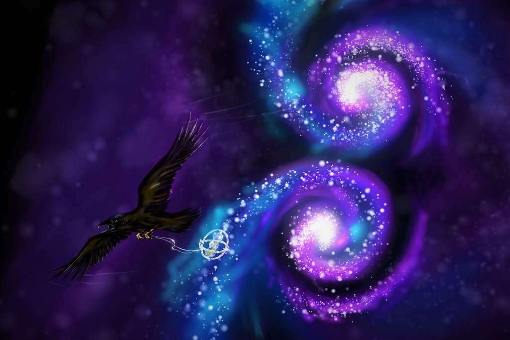 Crow carrying a time-turner through a pair of galaxies