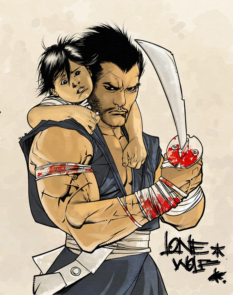 lonesome wolf and cub