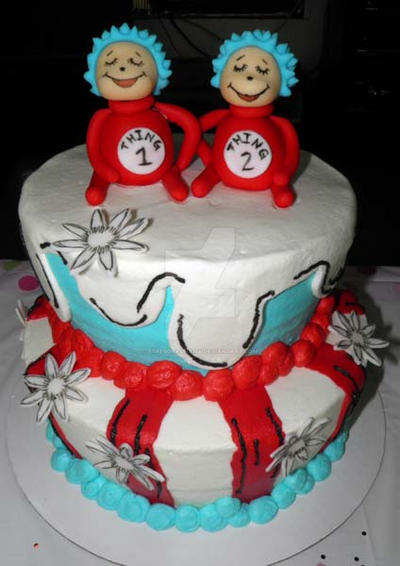 thing 1 and thing 2 baby shower cake by streboradnama on deviantart