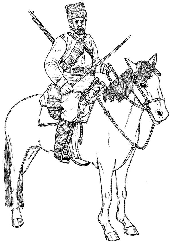 civil war soldier horse drawing sketch coloring page