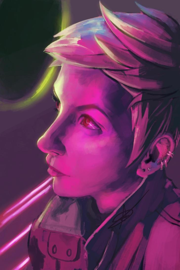Neon portrait by Upnova