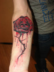 gothic rose and skull by Rublev-tattoo